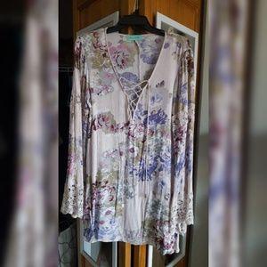 Lace up shirt dress